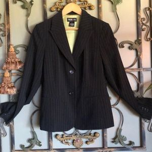 Style & Co lime green stripe & lining black blazer